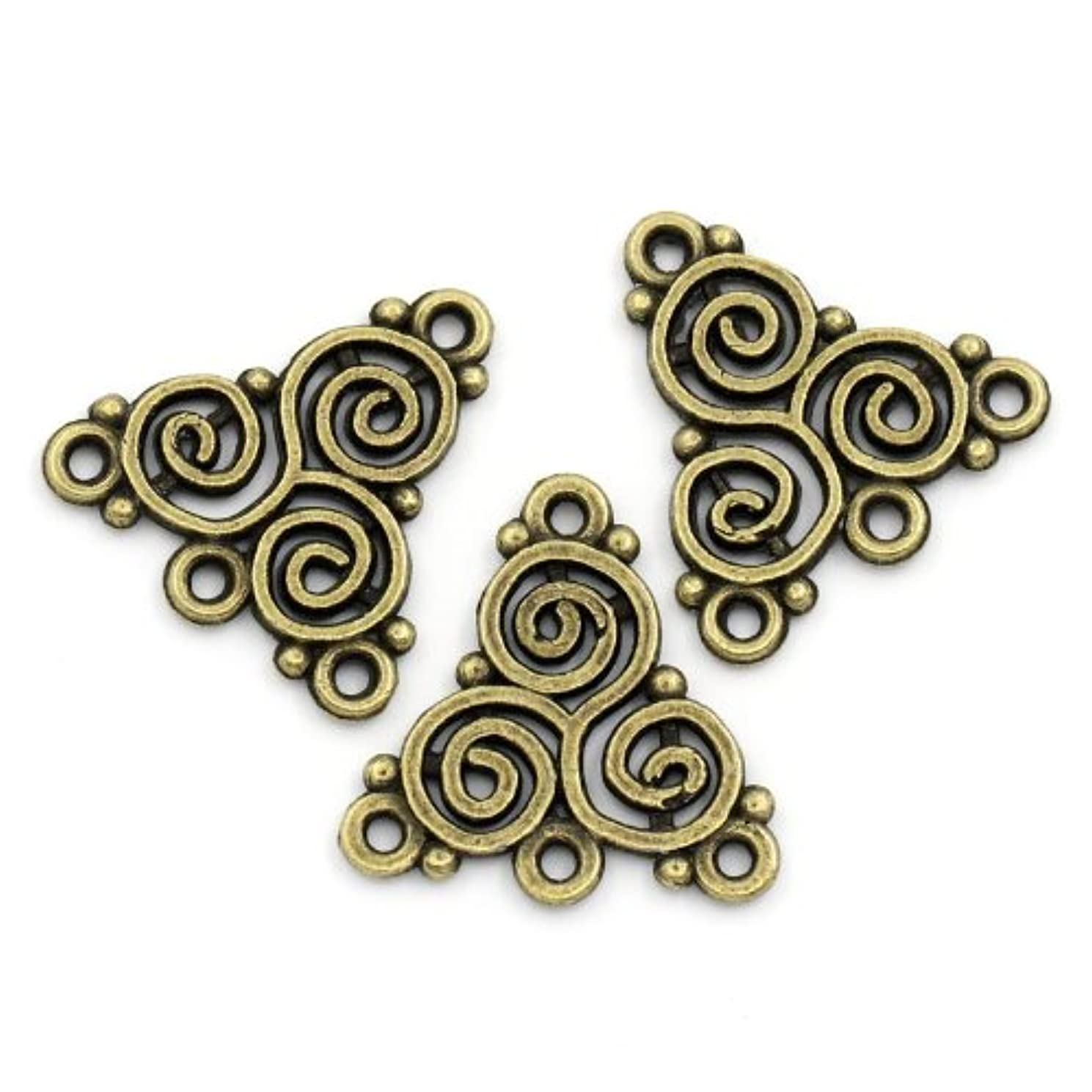 PEPPERLONELY Brand 50 PC Antique Bronze Celtic Triskelion Knot Spiral Pattern Connectors 6/8 x 6/8 Inch ( 20MM x 19.5MM )