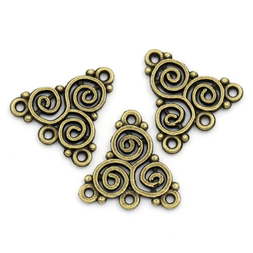 PEPPERLONELY Brand 50 PC Antique Bronze Celtic Triskelion Knot Spiral Pattern Connectors 6/8 x 6/8 Inch (20MM x 19.5MM)