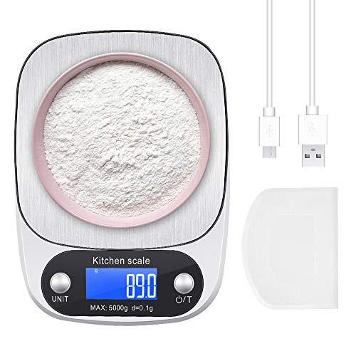 ZealBoom - Báscula digital de cocina con carga USB, 0,1 g/5 kg, con función de tara, pantalla LCD, báscula de bolsillo de acero inoxidable