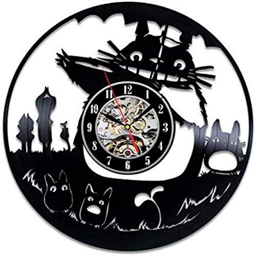Vinyl Wanduhr Plattenuhr Upcycling Plattenuhr Retro Uhren Vintage Leise Hängelampe Quarzuhr Wanduhren Handgefertigt-30cm (12 Zoll) -Katze mit Regenschirm