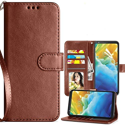 LG Stylo 5 Case,LG Stylo 5 Wallet Case,LG Stylo 5 Plus Cse,PU Leather Magnetic Folio Flip Card Slots Holster for Men Women w/Strap/Kickstand Protective Phone Case (Brown)