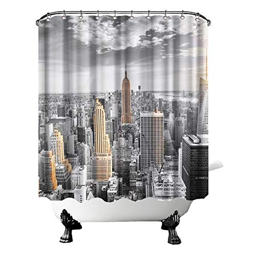 Nachic Wall New York City Shower Curtains Empire State Building at Gold Sunset Picture Waterproof Curtains for Bathroom Polyester Fabric Bathroom Decor Set with Hooks 72x72 Inches