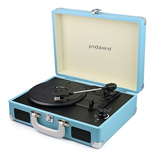 "Vintage Portable Turntable - 3 Speed Record Player Suitcase - Built in Stereo Speaker and Battery - 1/8"" Stereo Headphone Jack, Aux Input, RCA..."