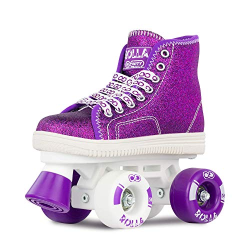 Crazy Skates Rolla Roller Skates for Boys and Girls - Great Beginner Kids Quad Skates - Purple (Jr 11)