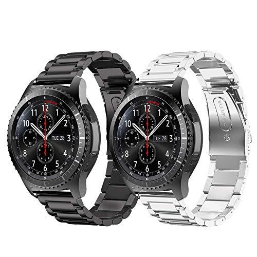 Syxinn Compatible Con Bracelet de Montre Galaxy Watch 46mm/Gear S3 Frontier/Classic 22mm Bande en Acier Inoxydable Métal Sport Sangle Bracelets pour Huawei Watch GT/GT 2 46mm/Moto 360 2nd Gen 46mm