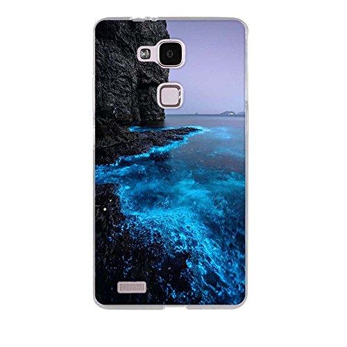 FUBAODA für Huawei Ascend Mate 7 Hülle Case, [Fluoreszierende Küste] Ultra Dünn Handyhülle Cover Soft Premium-TPU Durchsichtige Schutzhülle Backcover Slimcase für Huawei Ascend Mate 7 - 2