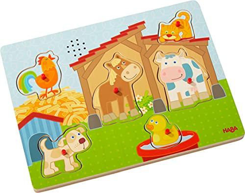 HABA 303179 - Sound-Greifpuzzle Auf dem Land | Kinderpuzzle ab 2 Jahren mit hübschem Landlebenmotiv | Lustige Tiergeräusche sorgen für extra Spaß