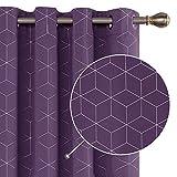 Deconovo Cortinas Salón Opacas Modernas Térmicas Aislante Decorativas con Ojales 2 Piezas 168x229cm Púrpura Oscuro