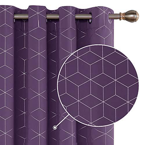 Deconovo Blickdicht Gardinen mit Ösen für Schlafzimmer Thermogardinen Blickdicht 160x132 cm Dunkelviolett 2er Set