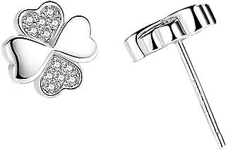 Hypoallergenic Lucky Four Leaf Clover Silver Heart Shaped Stud Earring for Women & Girls