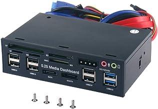 Tccmebius TCC-QL5E 5.25 Pulgadas PC Multifunción Salpicadero Medios de Comunicación Panel Frontal, con SATA e-SATA USB 2.0/3.0 Hub Audio Puertos y 5-en-1 Lector de Tarjetas (SD/MMC/CF/MS/TF / M2)