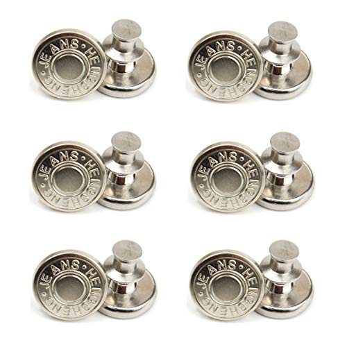12 Sets 17mm Replacement Jean Buttons, No Sew Instant Button Detachable Jean Button Pins, Removable Metal Button to Extend or Reduce Any Pants Waist Size(12#)