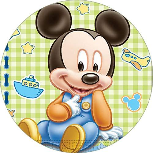 Cialda rotonda per torta Baby Topolino Mickey Mouse Disney decorazione alimentare senza glutine personalizzazione grafica inclusa topper cake design img 10 (Pasta di zucchero, 16 cm)