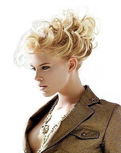 VANESSA GREY Toutes les couleurs disponibles, Chouchou Avec Extensions Bouclées Pour Queue De Cheval Ou Chignon Haut Ou Bas Mélange De Blonds Clairs