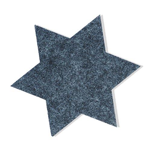 FILU Filzuntersetzer Sterne 8er Pack (Farbe wählbar) dunkelhgrau - Untersetzer aus Filz für Tisch und Bar als Glasuntersetzer/Getränkeuntersetzer für Glas und Gläser