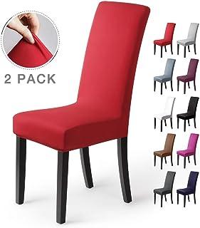 Fundas para sillas Pack de 2 Fundas sillas Comedor Fundas elásticas, Cubiertas para sillas,bielástico Extraíble Funda, Muy fácil de Limpiar, Duradera (Paquete de 2, Rojo)