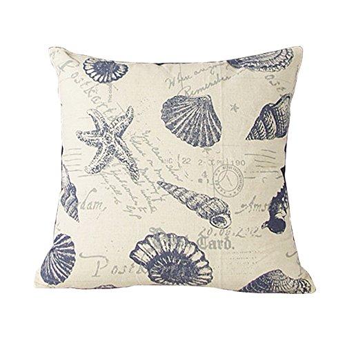 Luxbon Nautical Beach Themed Starfish Cushion Covers 18x18 Postcard Shell Conch Sofa Throw Pillowcase 45x45cm Cotton Linen Cushion Case Covers Home Decors