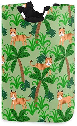 LYSOZ Tiger Animales de lavandería Cesto, Bosque Tigre Cesta de lavadero Grande de la Caja de Almacenamiento Impermeable for Llevar Fácil Familia habitación compartida de lavandería, 12,6 x 11 x 22,7