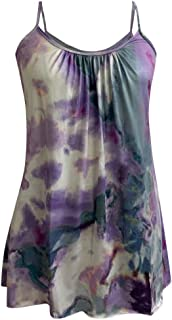 Allywit S-6XL Women Summer Printed Sleeveless Vest Blouse Spaghetti Straps Tank Top Tunic Blouse Plus Size