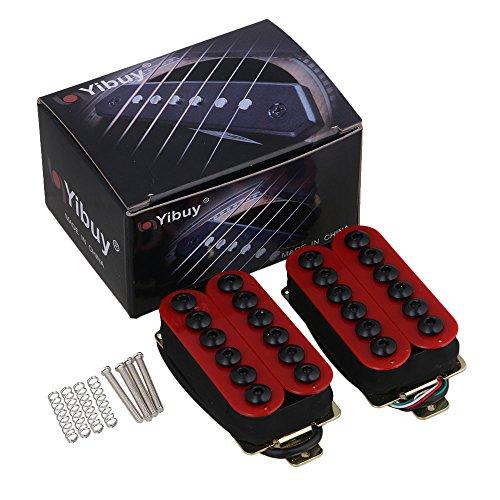 yibuy One Paar Rot Metall Tonabnehmer für E-Gitarre mit Keramik Magneten und umbrella-head Schrauben