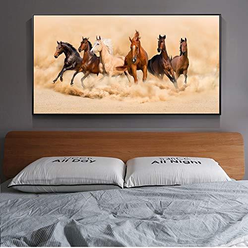 Sanzangtang Running Horse Poster en afdrukken Moderne dierenmuurschildering canvas schilderij op de muur paard schilderij frameloze woonkamer