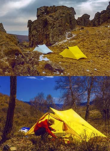 3F UL GEAR lanshan 2 Tent 2 Person Oudoor Ultralight Camping Tent 3 Season Professional 15D Silnylon Rodless Tent 4 Season (2P Gray 3 Season)