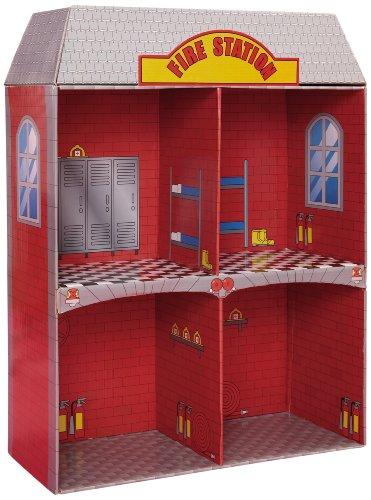 Knorrtoys.com 80151 - Puppenhaus Feuerwehr aus Karton 2-stöckig - Fire station Dollhouse
