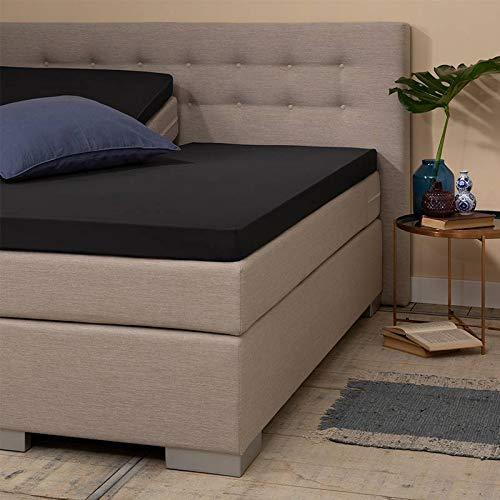 Jersey Splittopper Hoeslaken - Zwart - 200x200 cm - Jersey - Presence - Voor Matrassen Tot 10 CM