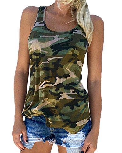 Auxo Damen Tank Tops Ärmellos Weste Sommer Slim Vest Party Club T Shirt Oberteil EU 36/Etikettgröße S