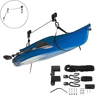 GWSPORT Elevador de Kayak Elevador, Canoe Techo de Garaje con Capacidad de 125 LB con Duradera, Estante de Polea Suspendido con Ganchos para Paddle Board, Surfboard, Snow Board, Bike, Canoe