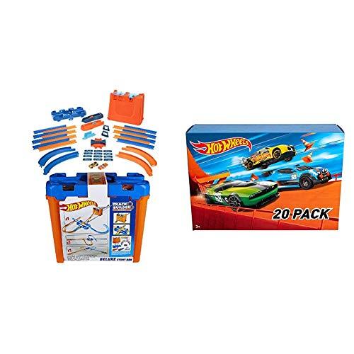 Oferta de Hot Wheels - Track Buider Caja de Acrobacias Deluxe (Mattel GGP93) + Wheels - Pack De 20 Vehículos con Embalaje de Cartón, Coches de Juguete (Modelos Surtidos) (Mattel DXY59)