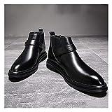 Zapatos de Hombre Chelsea Bota Del Tobillo Hombres Tire Con Zapatos De Cuero De La Venda Elástico De Microfibra, Anti Slip Clásico Chic Punta Estrecha Hebilla De Correa De Bloque De Tacón Zapatos