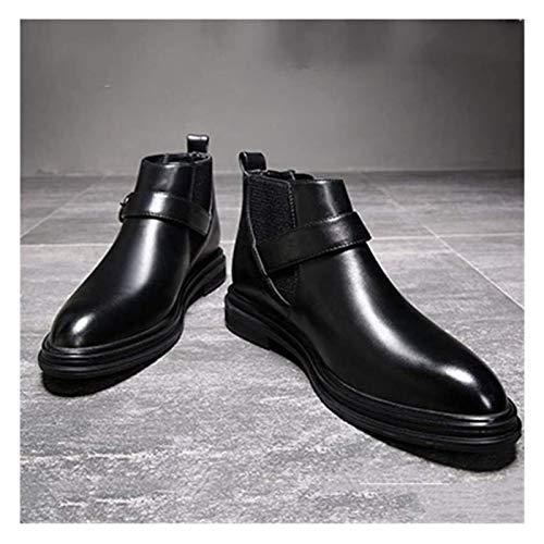 Zapatos de Hombre Chelsea Bota Del Tobillo Hombres Tire Con Zapatos De Cuero De La Venda Elástico De Microfibra, Anti Slip Clásico Chic Punta Estrecha Hebilla De Correa De Bloque De Tacón Zapa