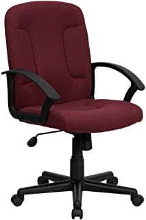 Flash Furniture Mid-Back Burgundy Fabric Executive Swivel Office Chair with Nylon Arms