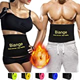 Biange Waist Trimmer for Women & Men Sweat Waist Trainer Slimming Belt, Stomach Wraps for Weight Loss, Neoprene Ab Belt Low Back and Lumbar Support - Mesh Bag Included
