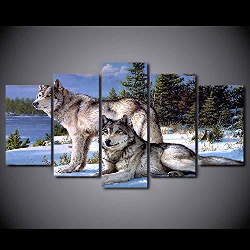 Leinwand HD Drucke Bilder Wohnkultur 5 Stücke Wolfs In The Snow Winter Gemälde Wandkunst Tier Poster Wohnzimmer Rahmen Drucke auf Leinwand 200X100CM