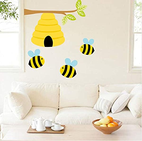 HSQMM Vinyl Wall Sticker PVC Cute Bee Plant Wall Decals Honey Bee Wall Stickers For Kids Room Nursery Room Modern Home Decor Vinyl Stickers