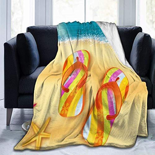 Manta de Microfibra Ultra Suave, Hermosas Zapatillas de Playa, Mantas acogedoras con Borde Cosido, Alfombra térmica portátil de Felpa para sofá Cama