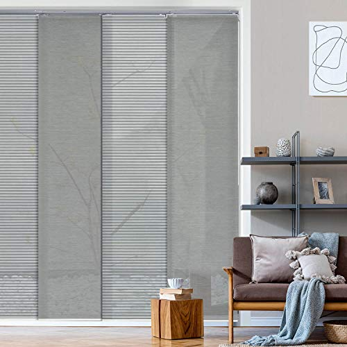 """Deluxe Adjustable Sliding Panel Track Blind 45.8""""- 86"""" W x 96"""" H, Extendable 4-Rail Track Track, Trimmable Natural Woven Fabric, Semi-Sheer, Comet"""