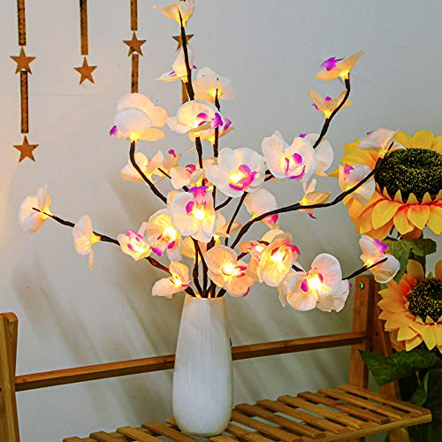 PerfiCap 2 Pack Butterfly Orchid Tree Light LED Lights Battery Powered Decorative Tabletop Lighted Tree Lamp Lighted Branches LED Branch Lights for Christmas Room Home Romantic Decoration