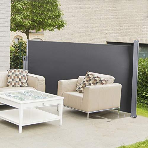 Cikonielf - Toldo retráctil para jardín, patio, exterior, impermeable, color gris oscuro
