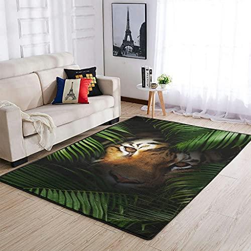 Wbinshey Tappeti tropicali foresta pluviale tigre moderna per camera da letto ufficio Decor tappeti tigre bianco 91x152cm