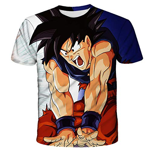 PERRTWDLF Beiläufige Tops Dragon Ball Z Kurzarm Unisex 3D Druck Goku Saiyajin T-Shirt Herren Damen Sommer japanischer Anime lustig Hemd Teenager Sportbekleidung 1105_5XL