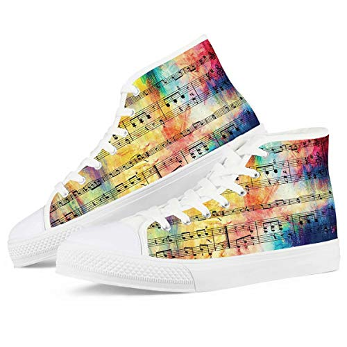 chaqlin Music Note High Top Segeltuchschuhe Junge Mädchen Mode Walking Ankle Boot mit Schnürung Casual Sport Gym Sneaker Geschenke Größe EU39