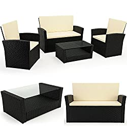 Deuba 10 TLG. Polyrattan sofa set with glass table - Rattan Lounge seating set with 7cm thick seat cushions