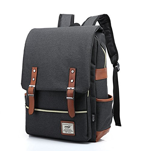 TININNA Unisex Vintage Canvas Backpack Satchel Rucksack Daypack Shoulder School Bag Schoolbag for Women Ladies Girls Black