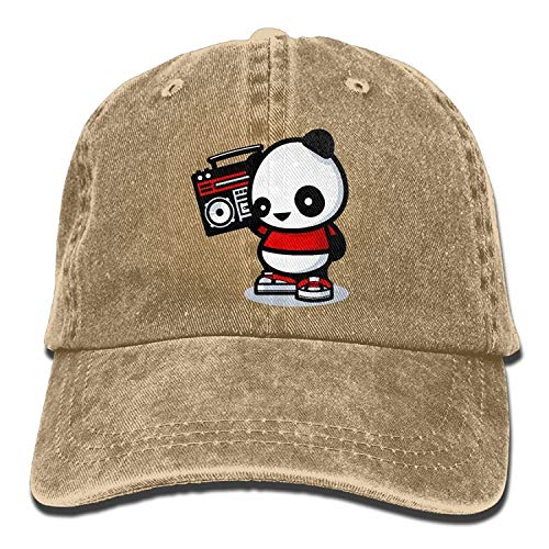 errterfte Unisex Caps Trucker Hats Panda Listening to The Radio Cowboy Baseball Hats Personalized Hat Comfortable Adjustable