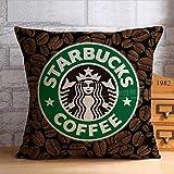 96688PLAOO EVSTMES Starbucks Pillow Cover Coffee Pillow Case Cartoon Starbucks Cotton Throw Pillow Case Pillowcase Wholesale Fundas para Almohada (65cmx65cm)