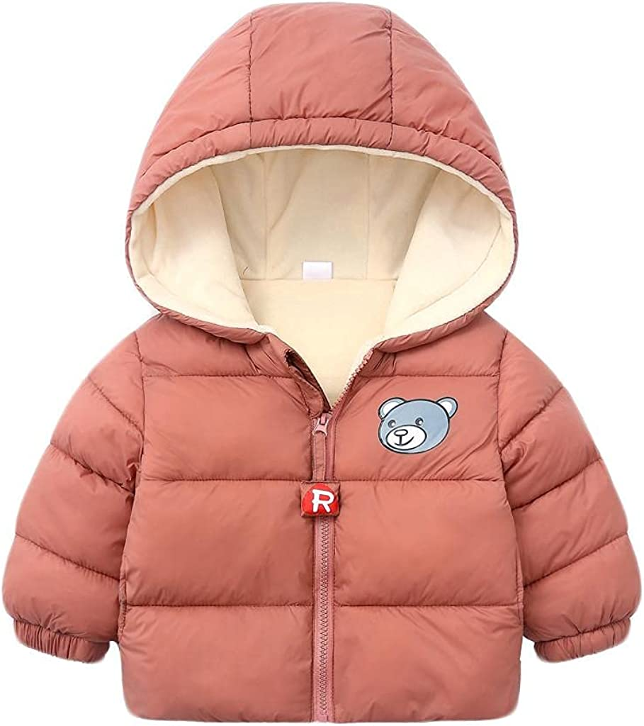 LISfsa Toddler Kids Boys Girls Zipper Down Hoodie Jacket Outwear Children Winter Coats Thick Bear Snow Hoodie Snowsuit Tops