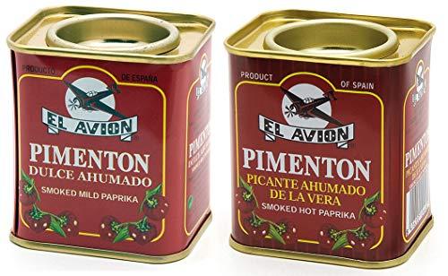 El Avion - 2er Set Pimenton Picante Ahumado - Scharfes und süßes geräuchertes Paprikapulver (2 x 75 g)